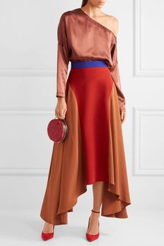 Askel asymmetric color-block crepe skirt | ROKSANDA | Sale up to 70% off | THE OUTNET