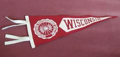 "Vintage Wisconsin Badgers Mini Pennant NCAA UW WI 14"" Red & White College"