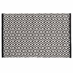 ETHNICO cotton patterned low pile rug in black and white 60 x 90cm