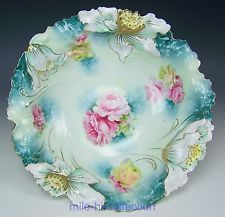 "RS PRUSSIA WATER LILIES MOLD 10.5"" BOWL WITH ROSES"