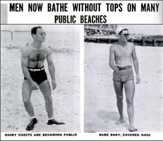"""Sun Bathing in the 1930s    """"A male costume consisting solely of trunks was, until recently, cause for arrest on almost all public beaches and caused many a raised eyebrow on private ones. At Atlantic city, male topless suits are still forbidden and only just this year has Long Islands ultra-demoeratic Long Beach allowed men to air their backs and chests."""" -1938"""