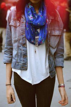 denim jacket, blue floral scarf, white t-shirt and black jeans