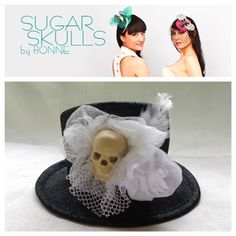 NEW: Sugar Skull top hat in black and white