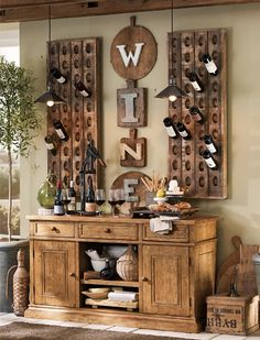 "I'd love to copy this Pottery Barn idea and hang the letters ""EAT"" on cutting boards on my dining room wall"