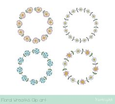 Pink Flower Wreath Clipart Cute Floral Border Blue Wedding Rustic B