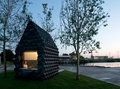 Dutch studio DUS Architects has printed an eight-square-metre cabin and accompanying bathtub in Amsterdam, and is now inviting guests to stay overnight Impression 3d, 3d Printed House, Microhouse, Architect Magazine, Stay Overnight, Urban Architecture, Amsterdam Architecture, Dezeen, Elle Decor