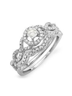 0.60 Carat (ctw) 14k White Gold Round Diamond Ladies Halo Style Bridal Engagement Ring Matching Band Set