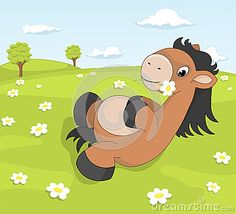 Cute cartoon pony on the blooming meadow holding daisy