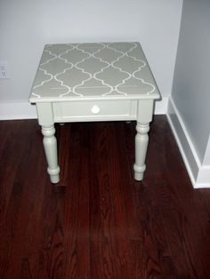 I think we may need to get @Kate Pearson-Halyburton some stencils soon! painted end table