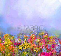 campos de flores: La pintura abstracta al óleo del arte de las flores de verano-primavera. Aciano, flor de la margarita en los campos. paisaje prado con flores silvestres, Fondo amarillo-rojo el color del cielo. estilo impresionista floral de la mano de pintura