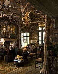 Unique Natural-Themed House from Ancient Time Exotic Living Room Rustic Furnitu&; Unique Natural-Themed House from Ancient Time Exotic Living Room Rustic Furnitu&; Beautiful House İn The Woods Beautiful House […] living room themes Fantasy Rooms, Fantasy House, Fantasy Bedroom, Fantasy City, Fantasy Forest, Fantasy Castle, Fantasy Artwork, Dark Fantasy, Witch Cottage