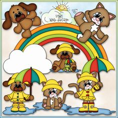 It's Raining Cats and Dogs - Kristi W. Designs Clip Art & B&W Set This set comes with 8 clip art and 8 black and white images (black lines with a white fill) and includes: rainbow, cloud, dog, cat, dog with a frog and an umbrella, dog with an umbrella, cat with an umbrella, cat in a rain puddle.
