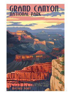 Grand Canyon National Park - Mather Point Affiches par Lantern Press sur AllPosters.fr
