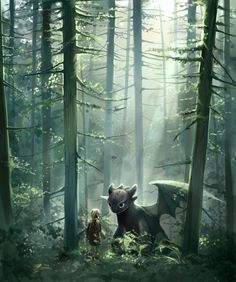 Beautiful scene of when Hiccup and Toothless first met.