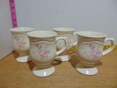 4 Pfaltzgraff Tea Rose Pedestal Mugs 4 Dish Sets, Tea Roses, Pedestal, Stoneware, Cocoa, Coffee Mugs, Great Gifts, Tableware, Dinnerware