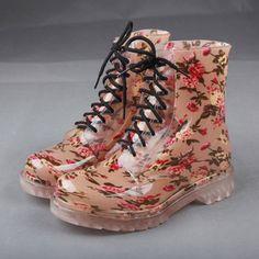 厂家直销现货时尚透明印花水晶马丁雨鞋 雨靴批发外贸时尚雨鞋