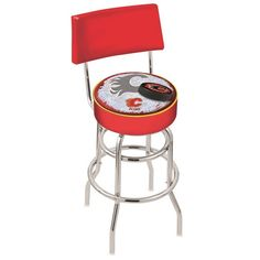 Calgary Flames NHL D2 Chrome Retro Bar Stool with Back. Available in 25-inch and 30-inch seat heights. Visit SportsFansPlus.com for details.