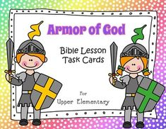 Armor of God - Bible Lesson Task Cards for Upper ElementaryFor Upper Elementary Students in Christian School, Sunday School, or HomeschoolThe exercises, as with all of my task cards, have the children digging right into Scripture to find the answers. This builds their skill in using the Bible, and promotes careful reading and understanding of the verses.The 8-page package consists of everything below:*A poster which can also be used as a center sign or folder cover*12 individual task…