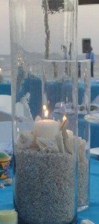 12 Beach Theme Destination & Candles Wedding Reception Table Centerpieces - Custom Made To Order, 50% off | Recycled Bride