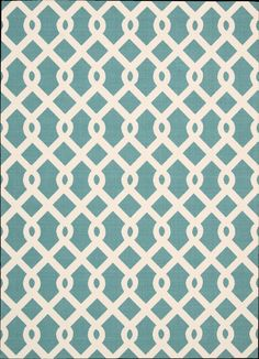 OUTDOOR RUG/ carpet! Just rinse of with a hose!  The Ellis Waverly rug features a wonderfully modern chain link zig and zag pattern set upon a beautiful shade of aqua ground. The simple, delightfully trendy yet fashionable design makes this rug an easy match to a wide range of décors. Great for your pool or beach area. ON OUR WEBSITE NOW: www.RUGSSC.com  FREE SHIPPING!