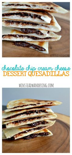 Chip Cream Cheese Dessert Quesadillas Warm and gooey chocolate chip cream cheese dessert quesadillas are the perfect rich, indulgent way to end your day.Your Money or Your Life Your Money or Your Life may refer to: Brownie Desserts, Oreo Dessert, Mini Desserts, Coconut Dessert, Cream Cheese Desserts, Dessert Drinks, Chocolate Desserts, Just Desserts, Delicious Desserts