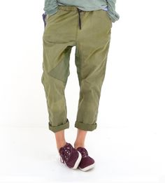 lightweight Army Greens Sailpant made of vintage army sleeping bags, making each pair ONE OF A KIND, with drawstring waist and triangle detail on right knee.  100% cotton. 100% FREECITY