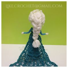 Cape and hair style of Ice Gown Elsa Frozen amigurumi crochet doll by LikeCrochet