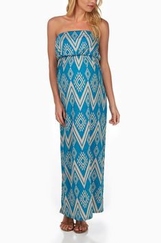 Turquoise-Beige-Tribal-Print-Maternity-Maxi-Dress #maternity #fashion