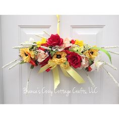 On SALE! Floral swag, clearance, special sale, floral door hanger,... (€27) ❤ liked on Polyvore featuring home, home decor, holiday decorations, flower wreath, easter door hangers, easter home decor, flower home decor and spring wreath