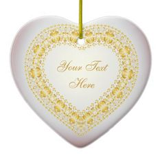Message From The Heart - Gold - Heart Ornament