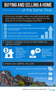 Buying and Selling a Home at the Same Time Infographic - Amy Sims  #RealEstate #SouthOrangeCounty #Realtor #HomeSelling #HomeBuying #BuyAHome #HomeStaging