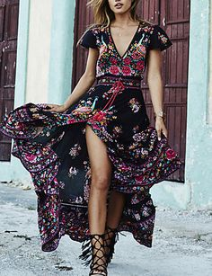 Women's Going out / Beach Vintage Swing Floral Deep V Maxi Dress 5310279 2016 – $15.99