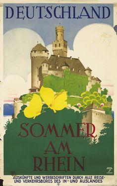 Ludwig Hohlwein Poster: Sommer am Rhein