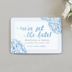Hydrangea Blue Save The Date Cards
