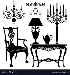 Illustration about Antique decorative furniture collection, black silhouettes of furniture for your design. Illustration of living, illustration, ancient - 22397024 Victorian Furniture, Retro Furniture, Antique Furniture, Furniture Decor, Rustic Furniture, Baker Furniture, Mirrored Furniture, Furniture Movers, Outdoor Furniture