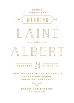 Novecento, Enamel, Naive Inline wedding invitation