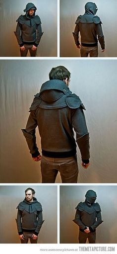 Homemade Suit of Armor Hoodie for the White Knight? Knight Armor Hoodie, Moda Geek, Mode Cyberpunk, Mode Alternative, Grey Knights, Armadura Medieval, Suit Of Armor, Pullover Hoodie, Anime Outfits