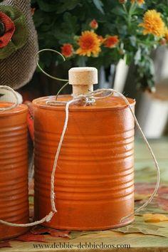 DIY Tin Can Pumpkin Craft for Fall Autumn Halloween via Debbiedoo's at @micmanno