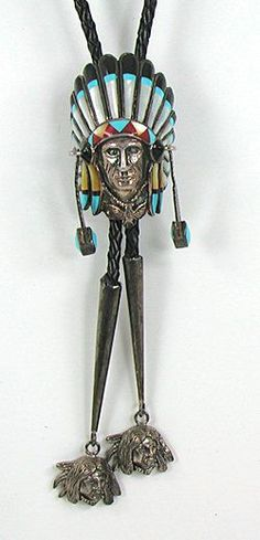 Authentic Vintage Navajo Indian Chief Turquoise sterling silver bolo tie