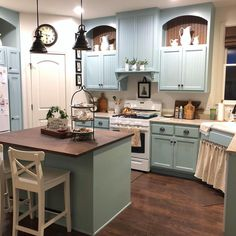 """2,670 Likes, 62 Comments - cindy (@acottagegirl) on Instagram: """"Nighttime view of my rarely clean kitchen. You're welcome. I put a 'last hurrah' Christmas tour in…"""""""
