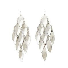 Charlotte Russe Textured Leaf Dangling Chandelier Earrings ($6) ❤ liked on Polyvore featuring jewelry, earrings, silver, leaf charms, dangle chandelier earrings, charm earrings, fish hook charm and charm jewelry