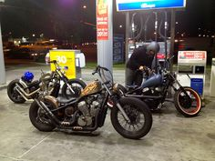 """Rust Daddy"" Honda Shadwo vt600 hardtail custom and two others at gas pump 