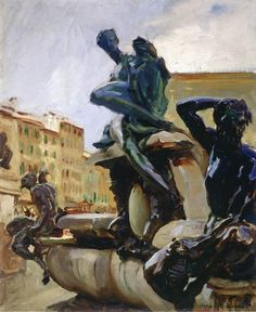 """""""Fountain of Neptune, Florence,"""" John Singer Sargent, ca. 1902, oil on board, 22.52 x 18.74"""", Art Institute of Chicago."""