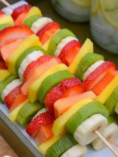 Party Fruit Kabobs - so easy! no recipe required! just slice bananas, kiwi, mangos and papaya and put them on skewers! Great picnic food or for a summer outdoor party. Kabob Recipes, Raw Food Recipes, Healthy Recipes, Healthy Desserts, Easy Recipes, Dessert Recipes, Fruit Appetizers, Appetizers For Party, Appetizer Ideas