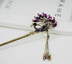 Oriental vintage style hair sticks/ hair pin/ Bridal headpieces/ Chinese Kanzashi Rhinestones peacock with dangling charm on Etsy, $22.95