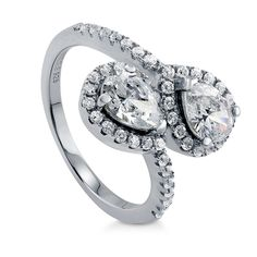 BERRICLE Rhodium Plated Sterling Silver 2-Stone Bypass Promise Ring Made with Swarovski Zirconia