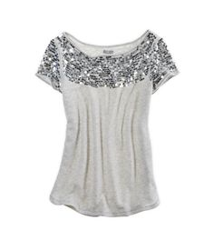 how perfect is this shirt for a Christmas, new years or holiday outfit? Also comes in pink and black!  style, silver, black, pink, sparkly, sparkle, glitter, sequins, aerie