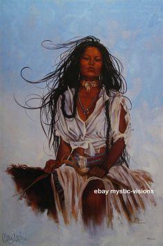 Penni Anne Cross HALF BREED I Ach-hua-dlubh CANVAS S/N Native American Art #Realism