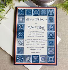 This Chinese Indigo wedding invitation features a border of Chinese indigo tiles in shades of navy blue with coral  and metallic navy accents layers.  Each invitation is hand made in my studio: designed, digitally printed, cut, hand detailed (each invite measures 5″ wide and 7″ high, composed of three layers of card stock) and customized to your specifications.  Sold in sets of ten invitations.  Included with each set:  -digital proofs via email  -ten three layer invitations: top layer…