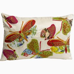 "Luxurious Embroidered Appliqued Butterflies Cushion Cover & Pad (12"" x 16"")"